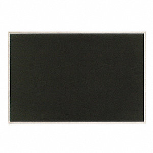 "Black Self-Adhesive Fabric Bulletin Board, Aluminum Frame Material, 36"" Width, 24"" Height"