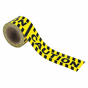 "Safety Warning Tape, Striped, Roll, 3"" x 60 ft., 1 EA"