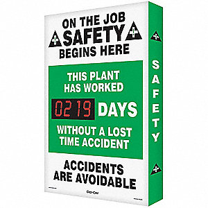 Safety Record Signs,36 x 24In,AL,ENG