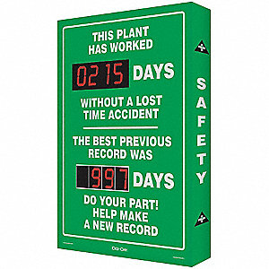 Safety Record Signs,29 x 20In,AL,ENG