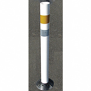 "White Channelizer Post and Base, Polyurethane, Length: 36"", 1 EA"