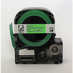 Black on Fluorescent Green Polyester Cartridge Label, Indoor/Outdoor Label Type, 16 ft. Length, 3/4""