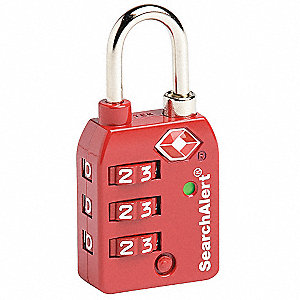 Combination Padlock,Side,3 Dial,Red