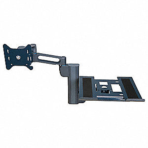 Gray Laptop/Monitor Dual Arm, Column Mount, 25 lb. Weight Capacity