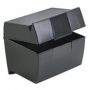 "Plastic Index Card File Box, (500) 5 x 8"" Index Cards Capacity"