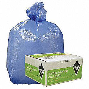 40 to 45 gal. Blue Recycled Can Liner, Flat Pack, 125 PK