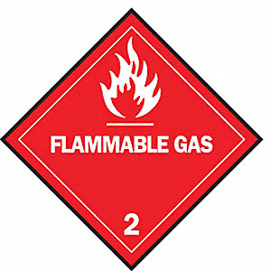 "Shipping Labels, Flammable Gas 2 Legend, Vinyl, 4"" Width, 4"" Height"