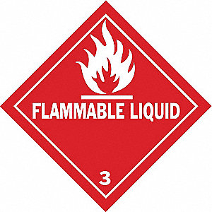 "Shipping Labels, Flammable Liquid 3 Legend, Vinyl, 4"" Width, 4"" Height"