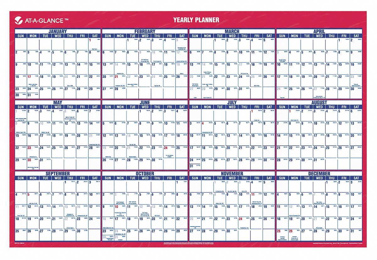 Calendar Year At A Glance : At a glance wall calendar yearly in rmn