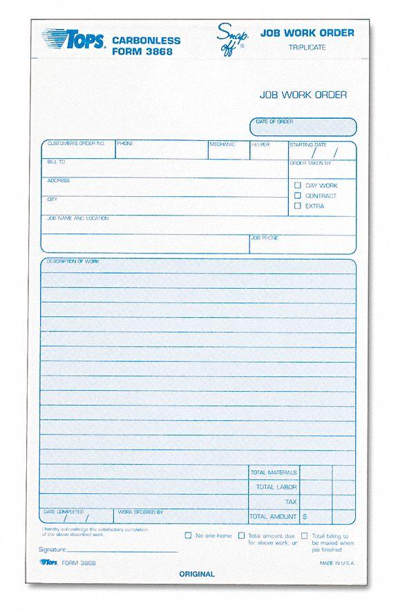 tops job work order forms  number of sheets 50  number of