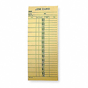 "Time Cards, Job Cost Card Type, Records Daily, Weekly, 8-1/4"" Height, 3-3/8"" Width"