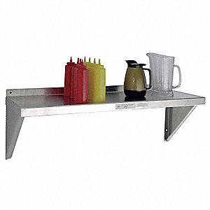 "Aluminum Wall Shelf, 13-1/2"" Overall Height, 48"" Width, 12"" Depth, 225 lb. Shelf Capacity"