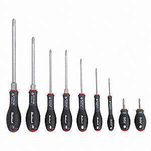 Phillips Screwdriver Set, Multicomponent, Number of Pieces: 9