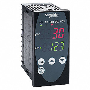 Temperature Controller, 1/8 DIN Size, 100/240VAC Input Voltage, Switch Function: SPST NO, 4 to 20mA