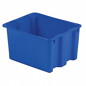 "Stack and Nest Container, High Density Polyethylene, 21"" Outside Length, 17"" Outside Width"
