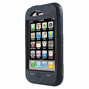 "iPhone Defender Case, Black Polycarbonate and Silicone, 1-1/2"" Height, 3"" Width, 5"" Depth"