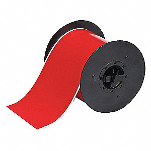 "Red Vinyl Film Label Tape Roll, Indoor/Outdoor Label Type, 100 ft. Length, 4"" Width"