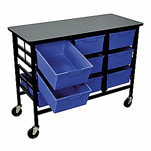 Mobile Bin Cart,Blue,44-3/4 In. L