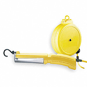 13 Watt Fluorescent ABS Extension Cord Reel with Hand Lamp, Yellow