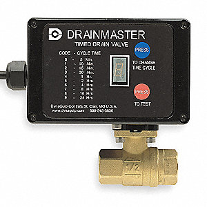 "Timed Electric Auto Drain Valve, 1"" NPT Pipe Size, 1"" Drain Size, 2.5 gal./cycle Drain Rate"