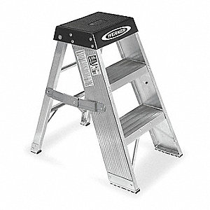 "Aluminum Step Stand, 36"" Overall Height, 375 lb. Load Capacity, Number of Steps 3"
