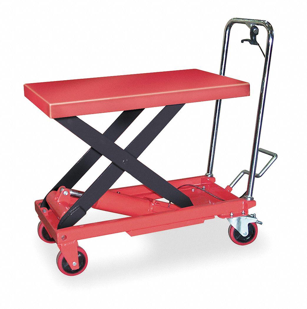 Dayton Mobile Manual Lift Manual Push Scissor Lift Table