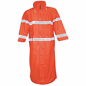 "Men's Hi-Visibility Orange Polyurethane Rain Jacket, Size 4XL, Fits Chest Size 58"" to 60"""