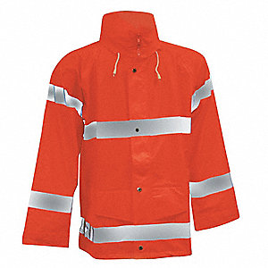 "Men's Hi-Visibility Orange Polyurethane Rain Jacket, Size M, Fits Chest Size 38"" to 40"""