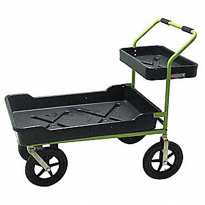 Garden Cart, 250 lb. Load Capacity, Number of Shelves 2, (2) Rigid, (2) Swivel Caster Type