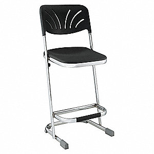 Square Stool with Backrest,Black,24""