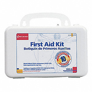 First Aid Kit,Bulk,White,62 Pcs,10 Ppl