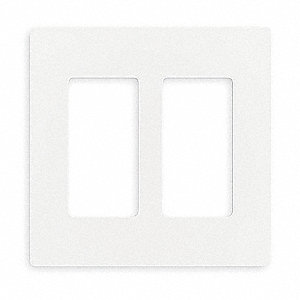 Rocker Wall Plate, White, Number of Gangs: 2, Weather Resistant: No