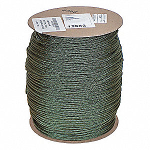 "Nylon Utility Cord, 3/16"" Rope Dia., 1200 ft. Length, Camo Green"