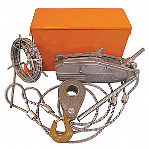 Cable Hoist Rescue Kit, 4000 lb. Lifting Capacity, 60 ft. Cable Length