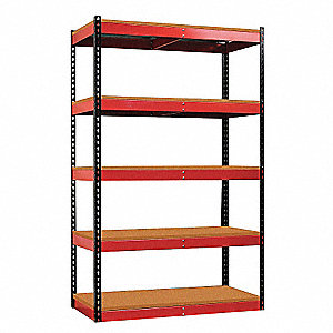 Black Posts/Red Beams Boltless Shelving, Number of Shelves 5