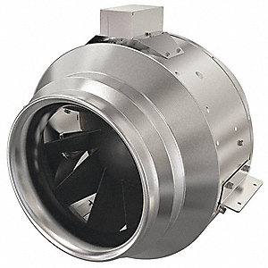"Galvanized Steel Inline Centrifugal Duct Fan, Fits Duct Dia. 12"", Voltage 120V"