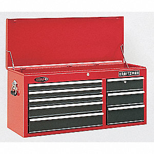 "Red/Black Top Chest, 40-1/2"" Width x 16""  Depth x 19-3/4"" Height, Number of Drawers: 7"