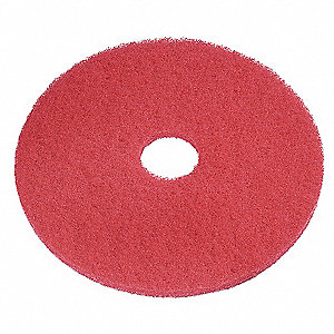 "20"" Red Recycled Buffing Pad, Recycled Plastic Polyester Fiber, Package Quantity 5"