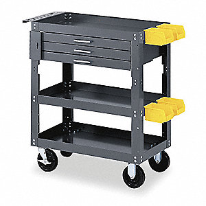 Gray Mobile Workbench Cabinet, 500 lb. Load Capacity, (2) Rigid, (2) Swivel Caster Type