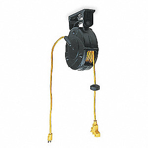 Retractable Cord Reel, 15 Max. Amps, Cord Ending: Outlet Box, 40 ft. Cord Length