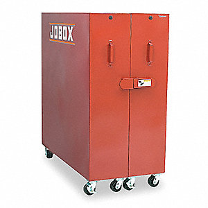 "Red Jobsite Storage Cabinet, Width: 62-1/2"", Depth: 30"", Height: 63-1/2"", Storage Capacity: 58 cu. f"