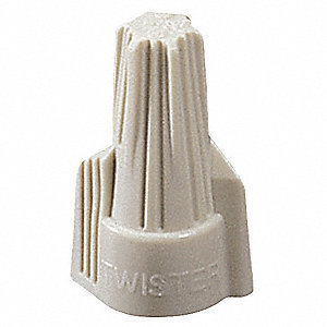 Twist On Wire Connector, Tan, 341 Series, Max. Wire Combination: (3) 10 AWG
