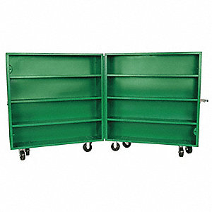"Green Jobsite Rolling Clam Shell Cabinet, Width: 60"", Depth: 15"", Height: 58"", Storage Capacity: 60."