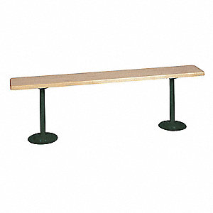 Pedestal Bench,W 60 In,H 18 In,Green