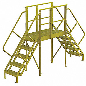 "Crossover Ladder, Steel, 50"" Platform Height, 50"" Span, Number of Steps 5"