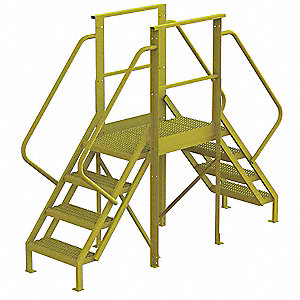 "Crossover Ladder, Steel, 40"" Platform Height, 30"" Span, Number of Steps 4"