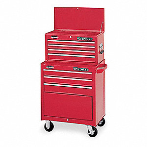 "Red Combination Tool Chest/Cabinet, Width: 26-1/2"", Depth: 18"", Height: 47-1/2"""