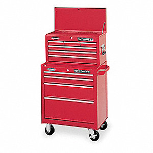 "Red Combination Tool Chest/Cabinet, Width: 26-1/2"", Depth: 12"", Height: 47-1/2"""