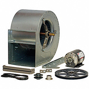 "Double Inlet Forward Curve Belt Blower with Motor and Drive Package, 17-13/16"" Wheel Dia., Unassembl"