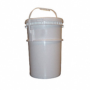 Pail,Screw Top,Round,6 gal,HDPE,White